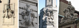 Some examples of the prows of Viking ships as architectural ornaments in the Boston area. Left to right: the World Trade Center in the Seaport District, circa 1901 (courtesy of the AIA Guide to Boston, 2017); the Board of Trade Building on Broad Street, 1902; the main piers of the Longfellow Bridge at the waterline, 1906; and Harvard's Weld Boathouse on Memorial Drive, 1906.