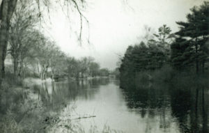 "Flooding on ""The Causeway"" (Great Plain Avenue leading into Dedham), 1938."